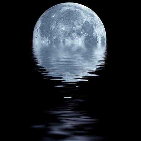 night moon: Papel tapiz de la fantas�a de blue moon sobre el agua