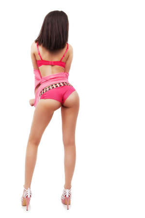 girl ass: Woman with sexy ass and legs isolated on white