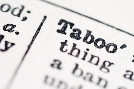 taboo: Taboo word in dictionary (macro view) Stock Photo