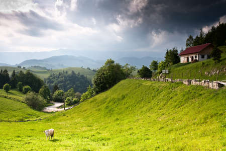 Beautiful vivid and amazing landscape from romanian countryside photo