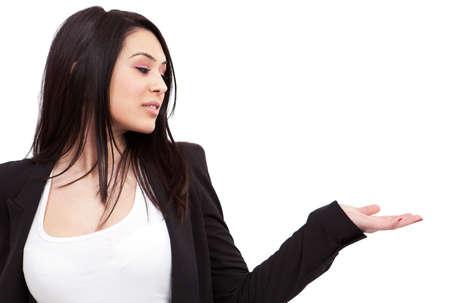 Eine Präsentation isoliert jung Business-Frau