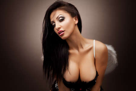 Gorgeous hot young woman with sexy cleavage