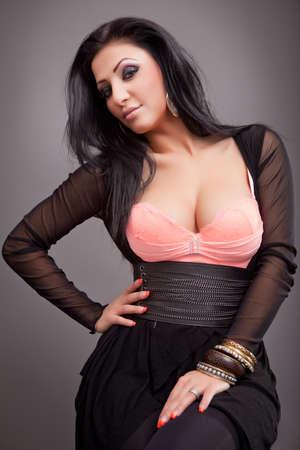 voluptuous: Fashion portrait of one sexy beautiful woman Stock Photo
