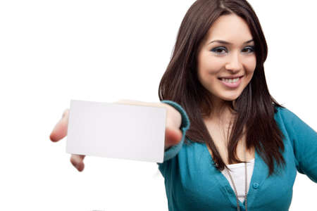 Marketing concept - woman showing business card photo