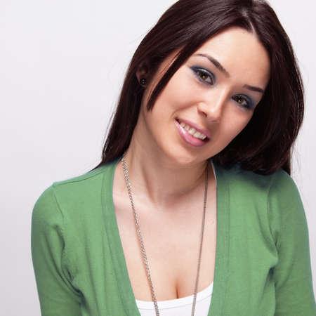 Happy cute joyful young woman over white Stock Photo - 13074055