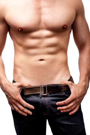 white men: Sexy body of man with muscular chest and six packs Stock Photo