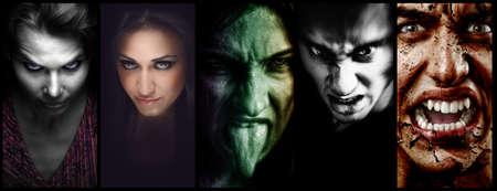 ojos negros: Collage de Halloween - horror mal miedo se enfrenta a las mujeres y los hombres