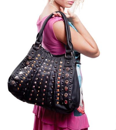 woman bag: Woman and fashion bag (handbag) isolated on white