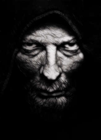 Scary evil wrinkled man over black