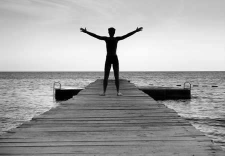 enjoying life: Free happy man enjoying life in nature