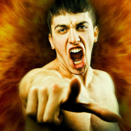 Angry Furious Man Screaming and Pointing Finger