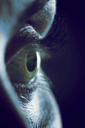 blue eye: Extreme close up on human female eye