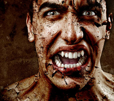 cracks: Spooky sinister man with aged cracked peeling skin Stock Photo