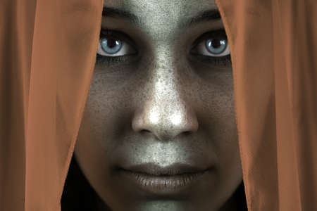 Face of shy freckled woman with veil and beautiful big eyes photo