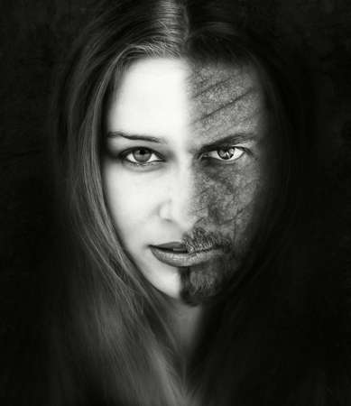Innocence versus evil. Beautiful and ugly. Bad or good. Beauty and the beast conceptual portrait photo