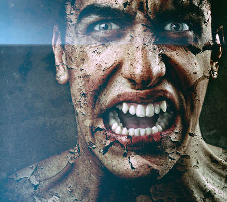 cracked: Spooky sinister man with aged cracked peeling skin Stock Photo