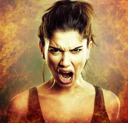 Rage explosion. Scream of angry young woman