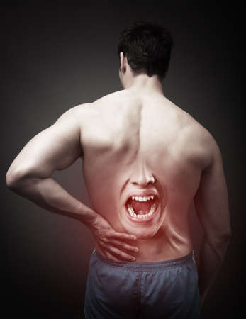 lower back pain: Back Pain Concept. Human Spine Injury Stock Photo