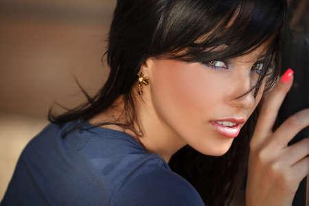 Face portrait of beautiful young sensual woman photo