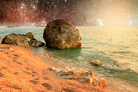 Universe landscape of alien planet with water in deep outer space Stock Photo