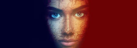 Colorful face portrait of beautiful sensual young expressive woman Stock Photo
