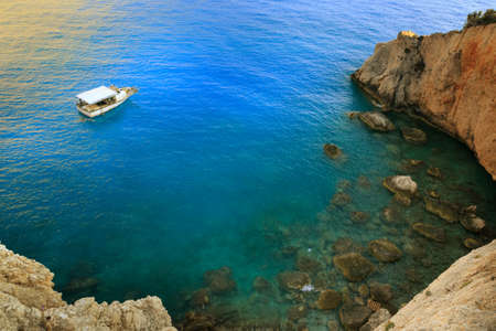 Greece summer view of turquoise sea and boat on Lefkada Island
