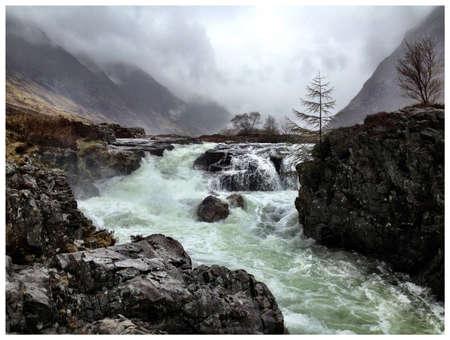 glencoe: The waterfall in glencoe Scotland Stock Photo