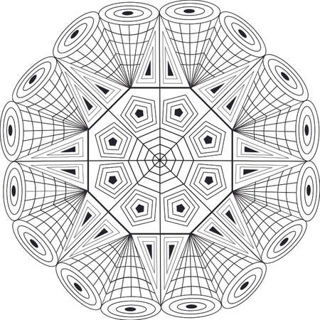 visual: Mandala geometric design with visual effect for coloring