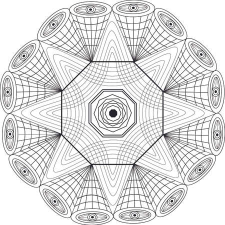 visual: Mandala geometric design with patterns and visual effect