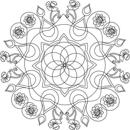 femenine: Mandala art and design with flowers motives for coloring