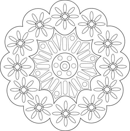 textil: Flowers illustration with geometric patterns for coloring books