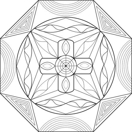 Geometric illustration and with patterns and visual effects for coloring books