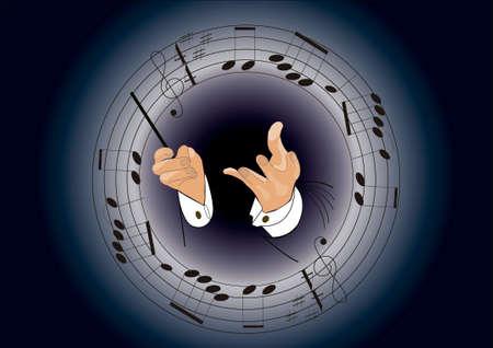 オーケストラ指揮者の手で円形のト音記号