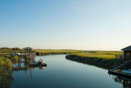 tybee island: A beautiful evening on a waterway surrounding Tybee Island near Savannah Georgia.