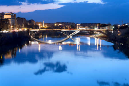 Bridge over the river Ebro during the sunset