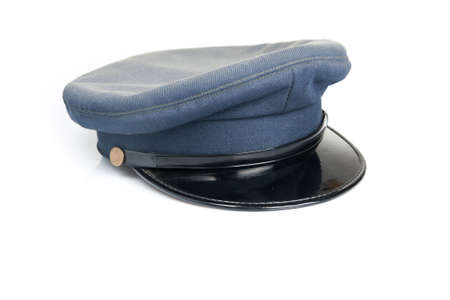 driver cap: Blue uniform hat isolated in a white background