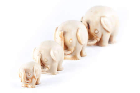 A herd of elephants isolated in a white background photo