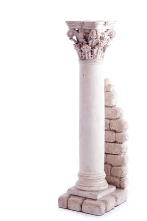 Roman column bookend isolated in a white backgroun Stock Photo