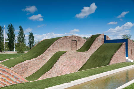 A natural slide made of grass