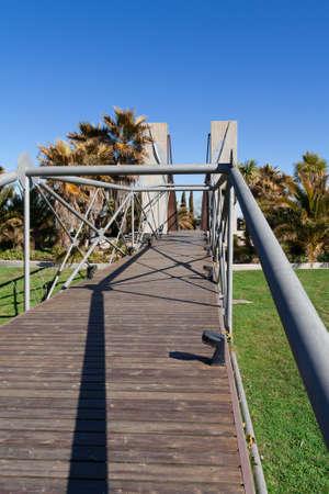 A wooden bridge in Campo de las Naciones, Madrid (Spain) Stock Photo