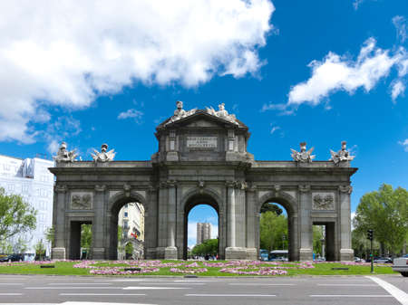 monument historical monument: Puerta de Alcala  Alcala Gate  in the Plaza de la Independencia in Madrid, Spain Stock Photo
