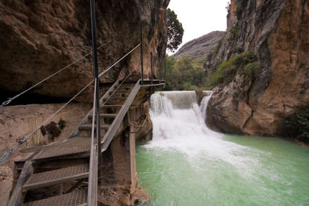 A gangway over the Vero River, Alquezar (Spain)