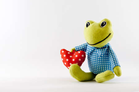 An isolated frog toy in a white background photo
