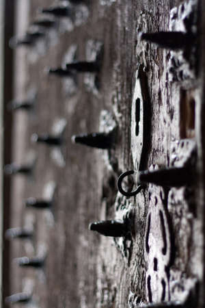 An old door in a church in Huesca  Spain  photo