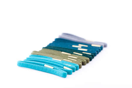 Green, blue and grey isolated scrunchies Stock Photo - 14992629