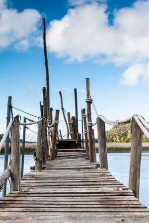 A gangway over the water in Asturias  Spain