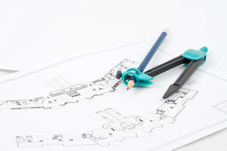 Design drawings and a compass drawing Stock Photo - 15710207