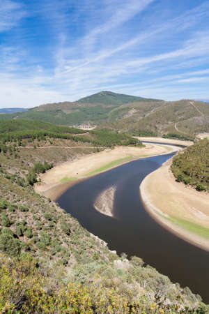 oxbow: Meander of the Alagon River  known as Melero Meander  in Las Hurdes, Extremadura  Spain