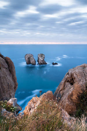 A sunset in The Urros, Cantabria, Spain. Stock Photo