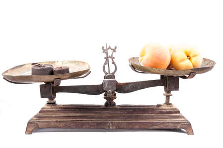 weighing scale: Old weighing scale isolated on white background